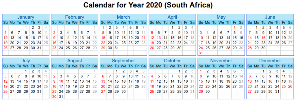 South Africa Holidays 2020