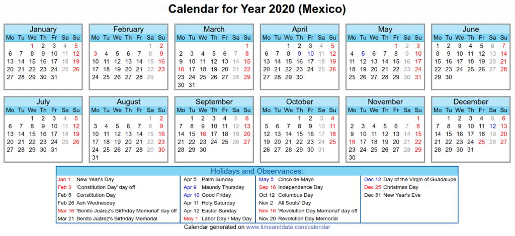 Mexico Holidays 2020