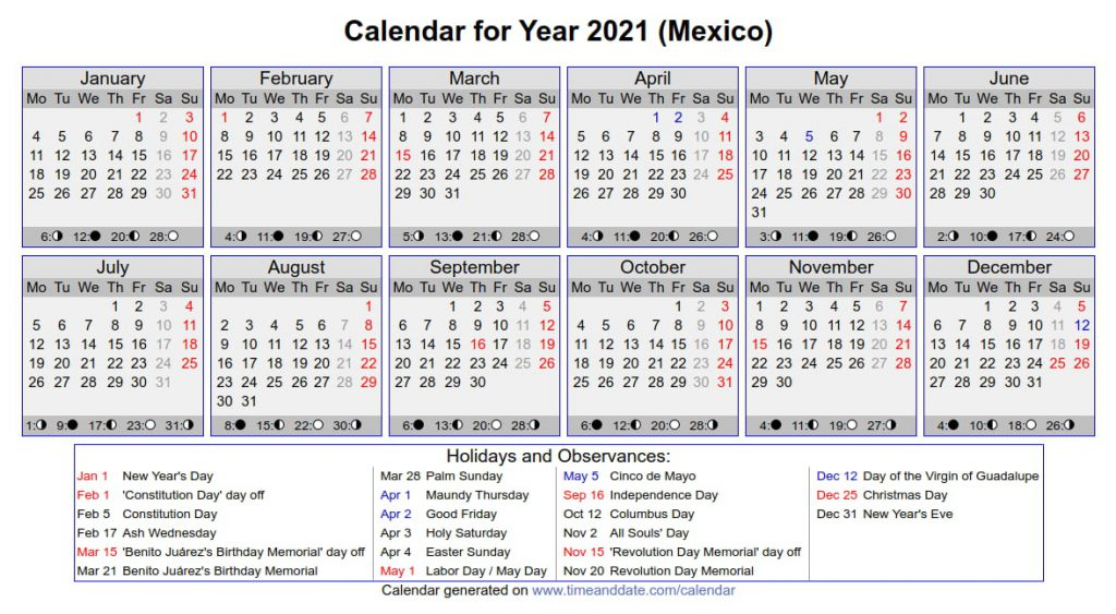 mexico holidays 2021