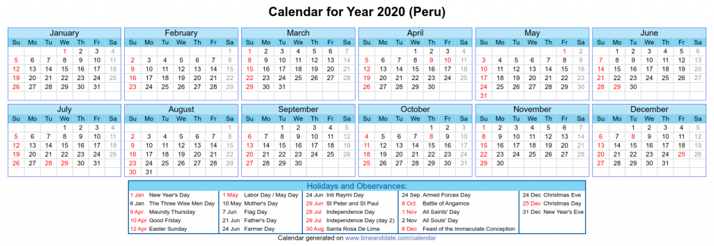 Peru National Holidays 2020