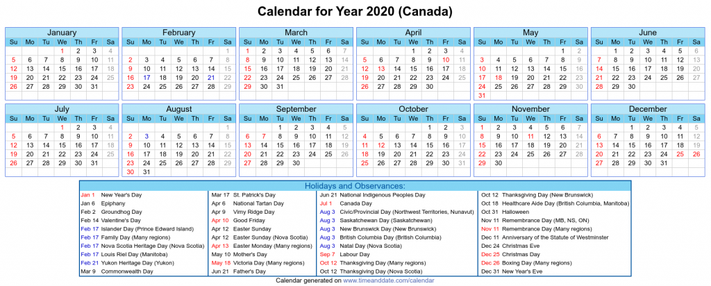 Canada National Holidays 2020