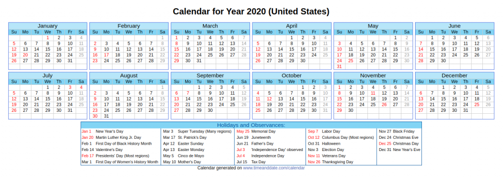 US National Holidays 2020